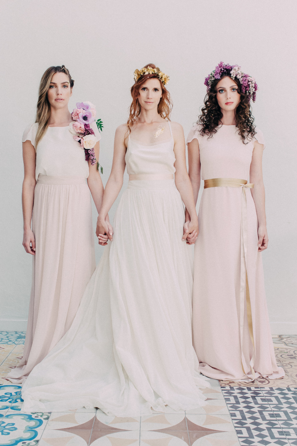 modern romance wedding bridal party attire
