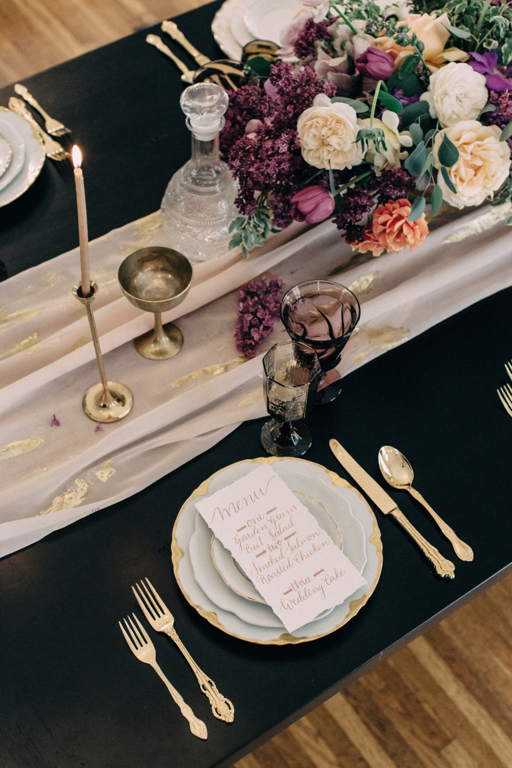 purple and gold wedding reception place setting