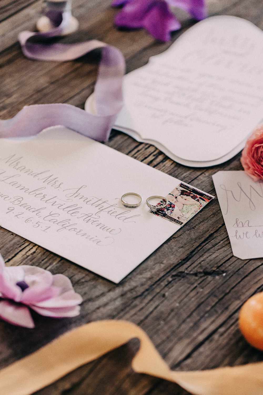 purple script wedding stationery