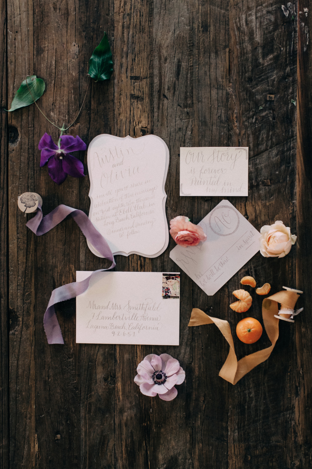 soft purple romantic wedding stationery suite