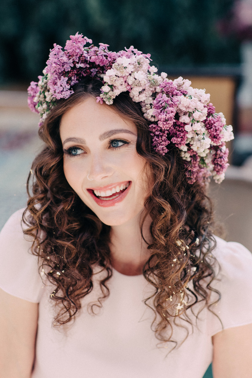 beautiful purple wedding flower crown