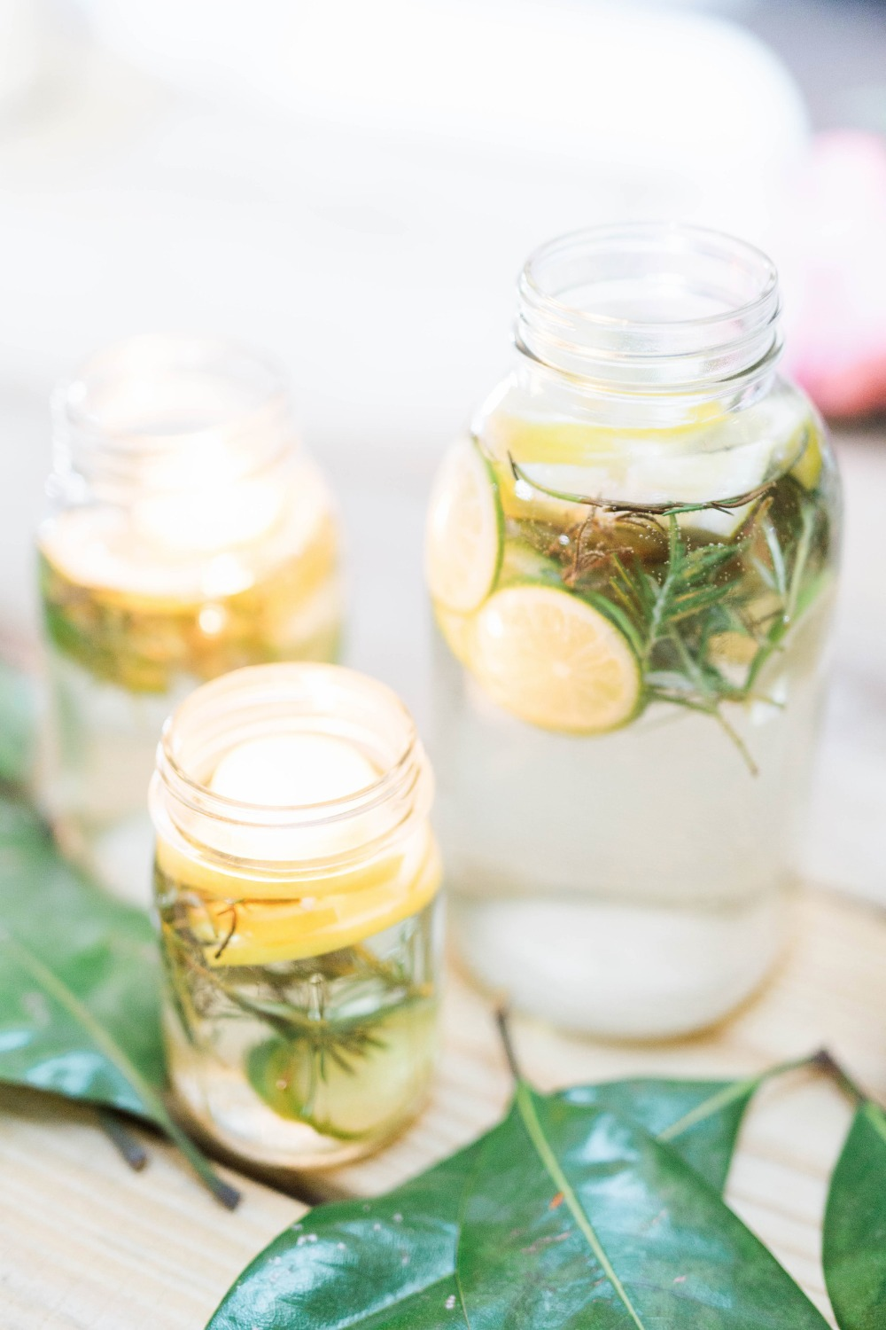 Lemons, limes and rosemary centerpiece