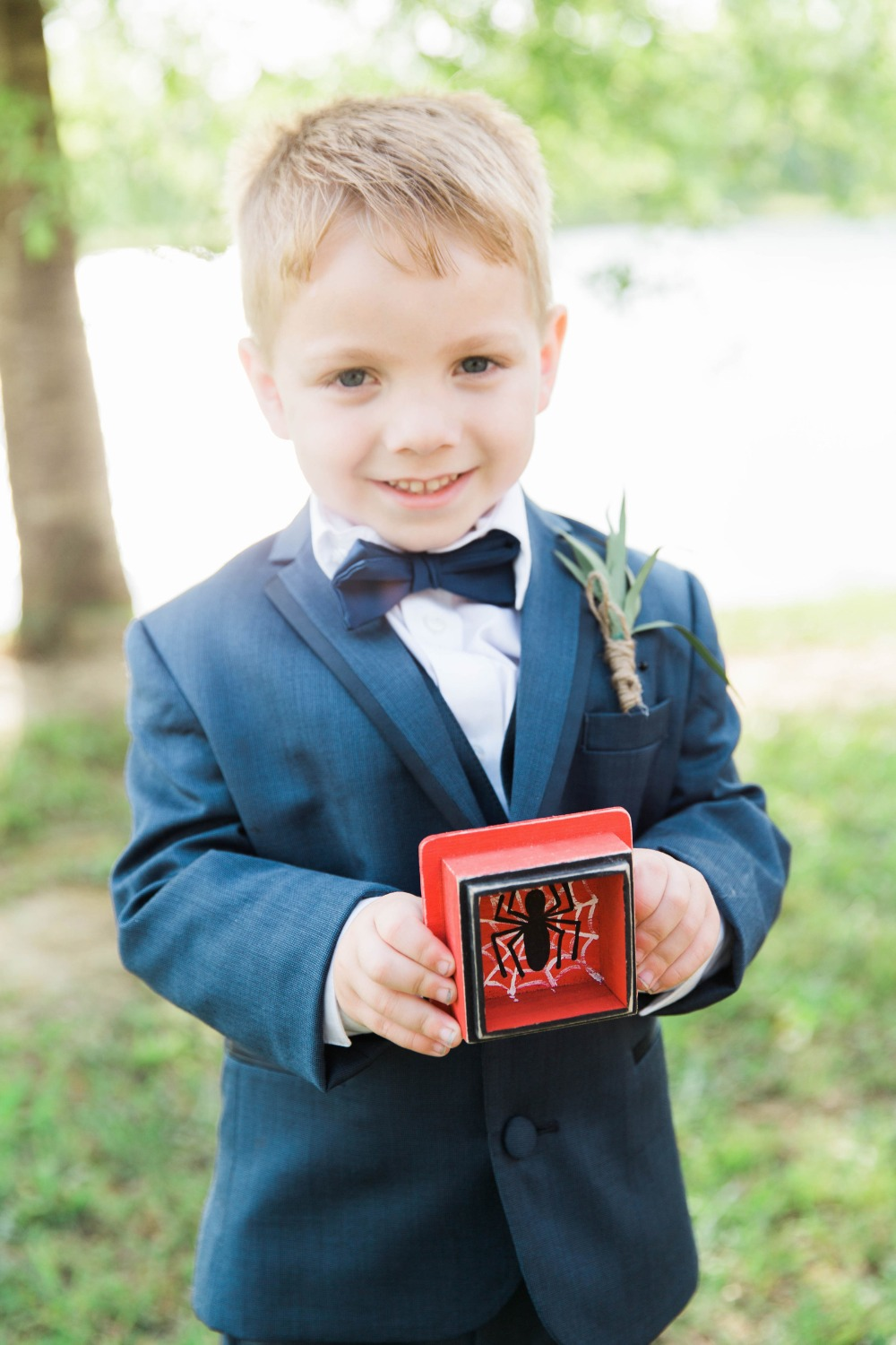 Ring bearer with spider man box