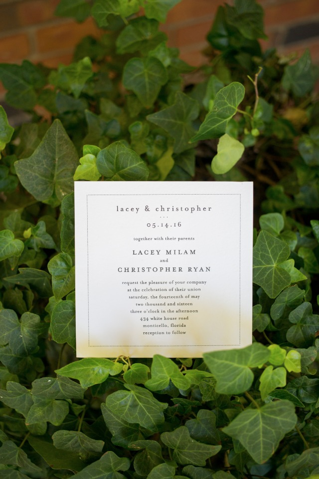 simple and chic square wedding invitation