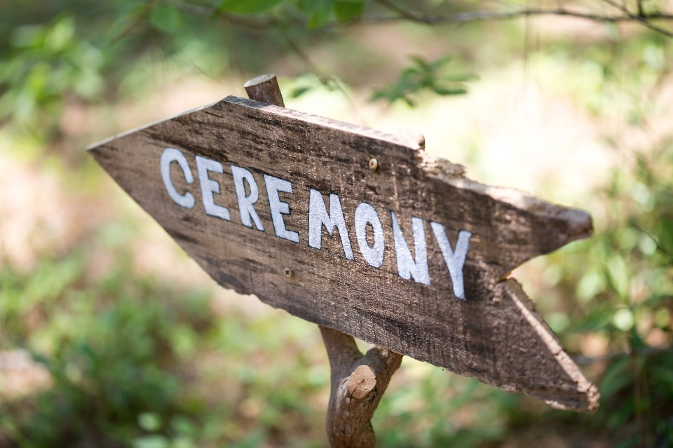 hand painted ceremony sign