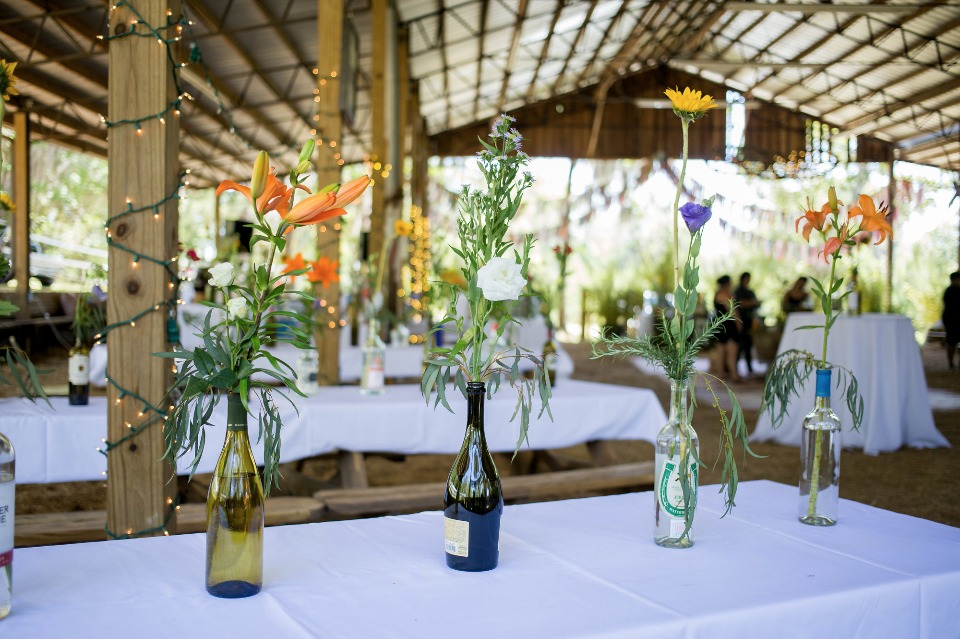 recycled bottle and carefree floral centerpieces