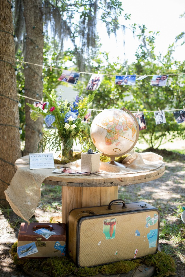 travel themed guest book table and photo display