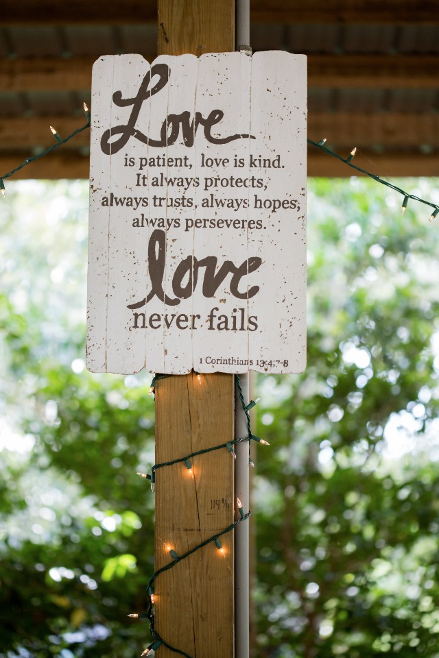 love never fails wedding quote sign