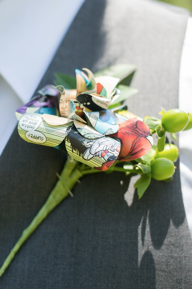 comic book groom boutonniere