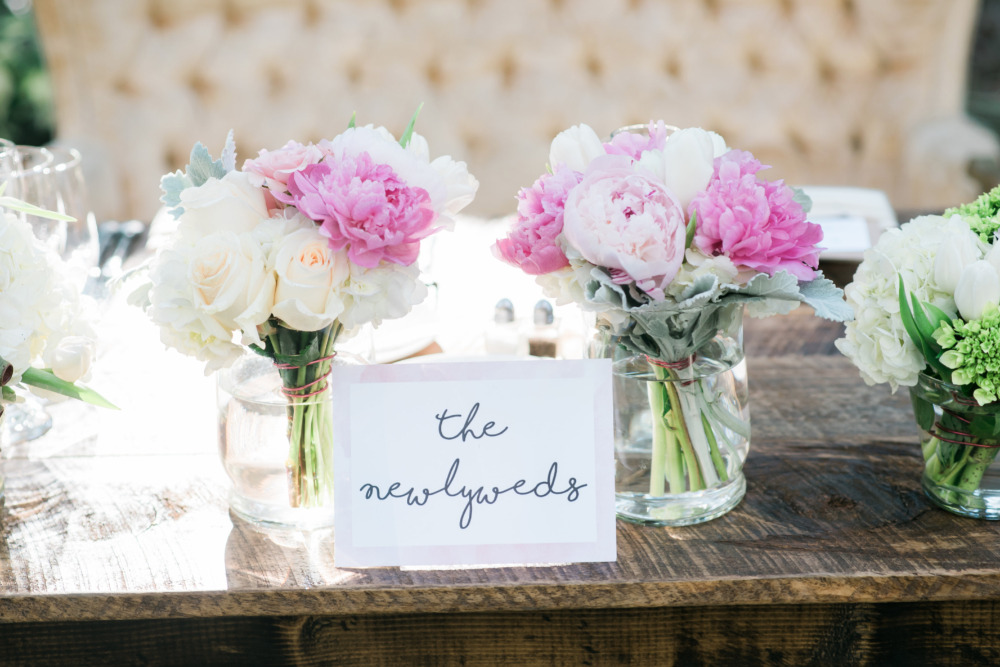 peony and rose bouquet centerpieces