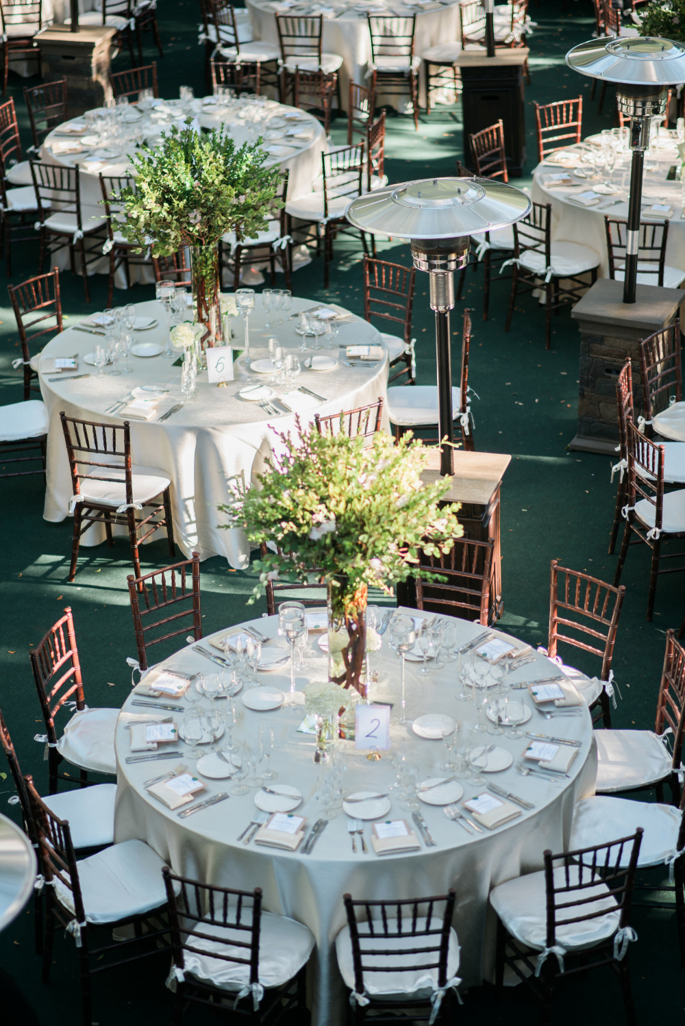 white and green chic wedding reception