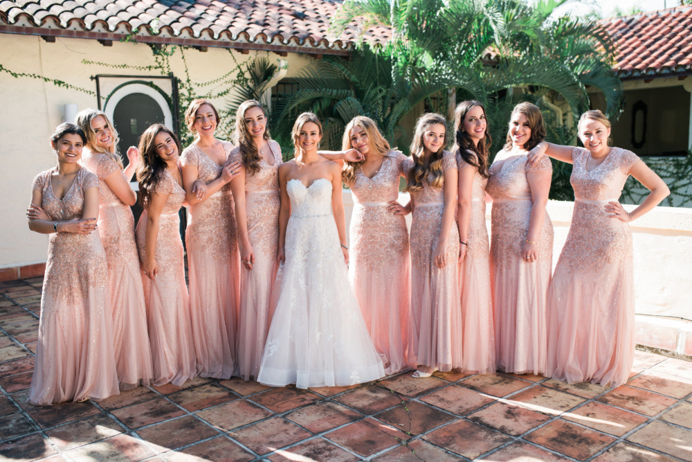 pink sparkly bridesmaids dresses