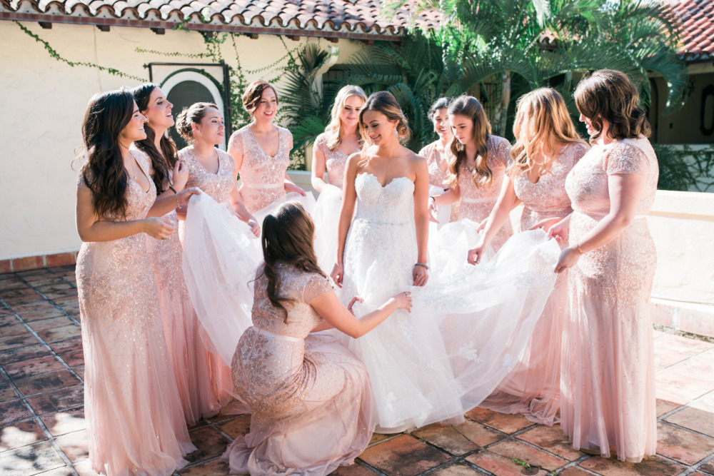 pink sparkly jeweled bridesmaids dresses
