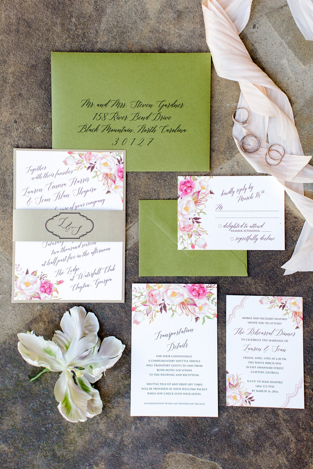 Green and pink invitation suite