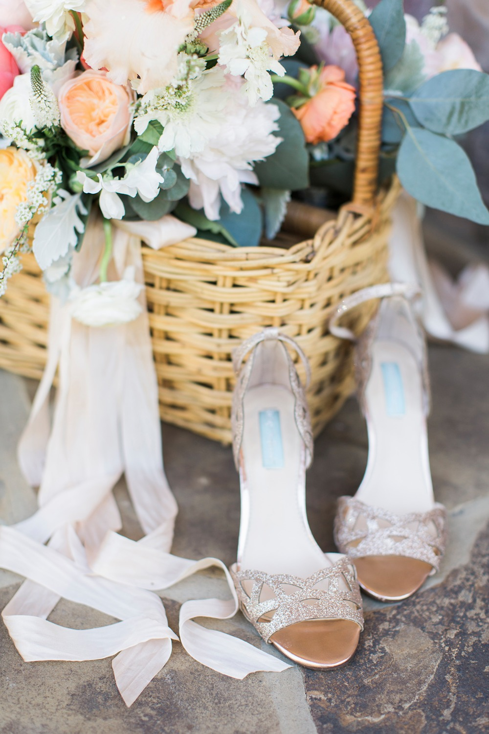 Sparkly gold wedding heels