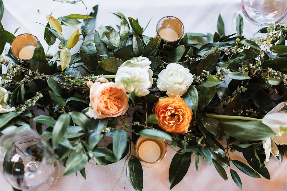 Floral centerpiece idea with candles