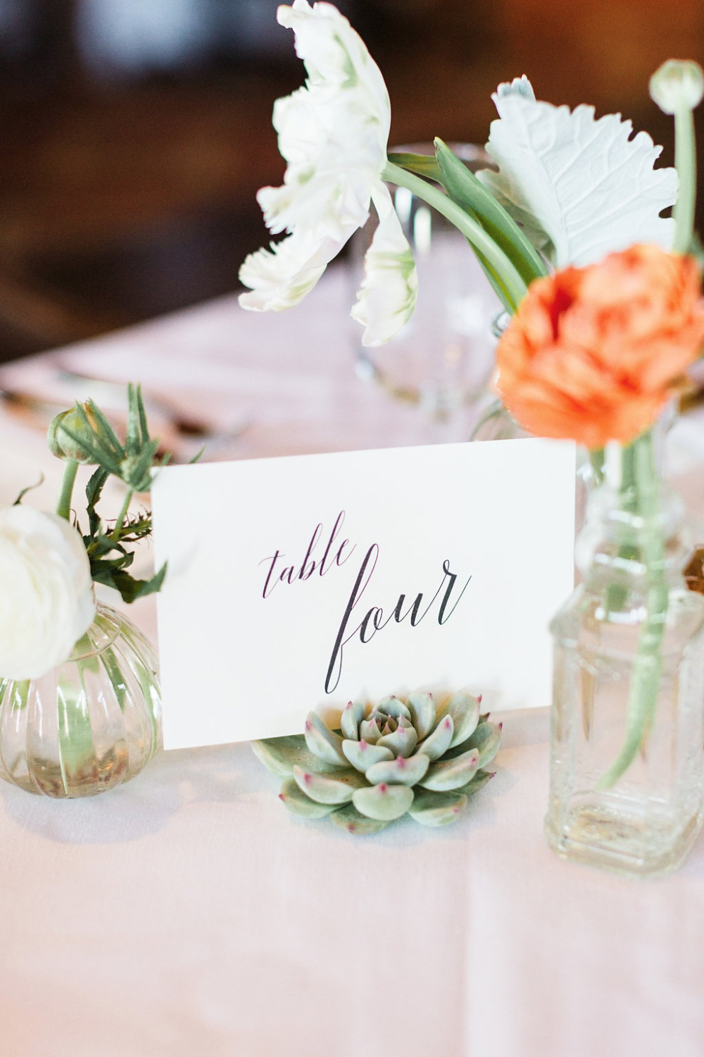 Table numbers in succulents