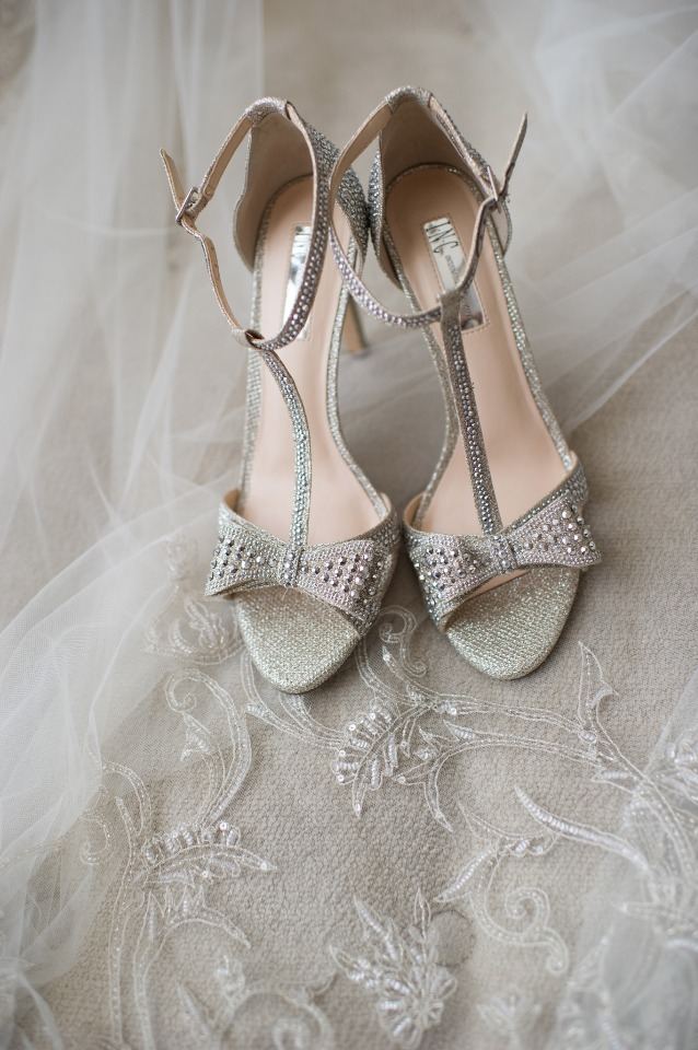 gold glittery wedding shoes