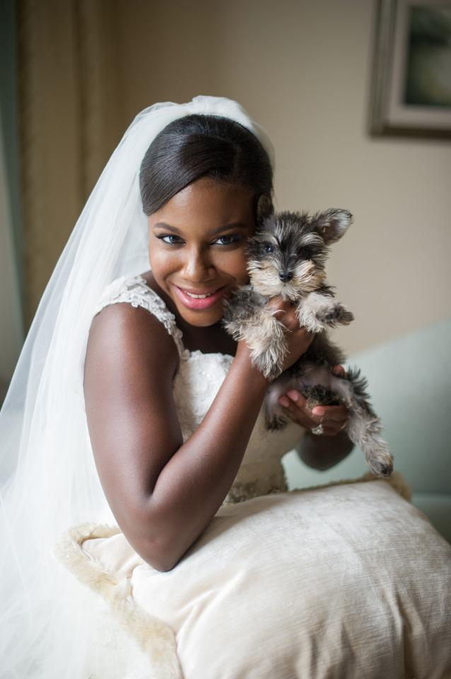 a bride and her wedding puppy