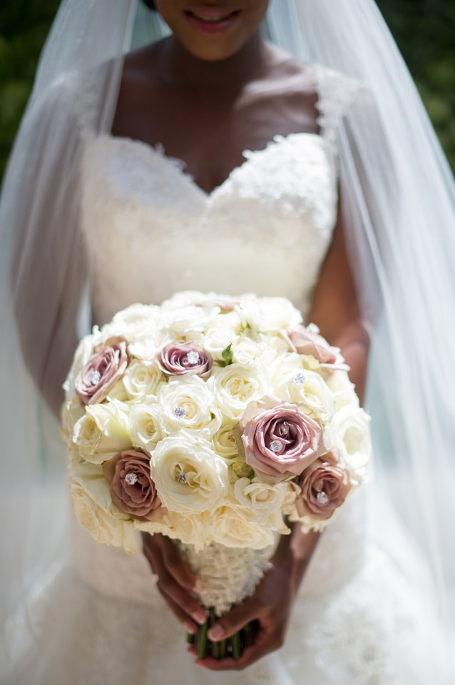 Glam wedding bouquet with sparkles and roses