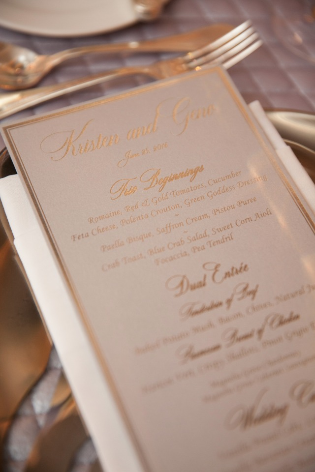 glam wedding reception menu