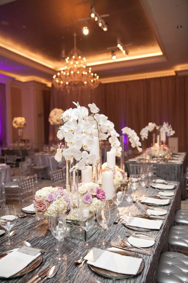 white silver and purple table decor
