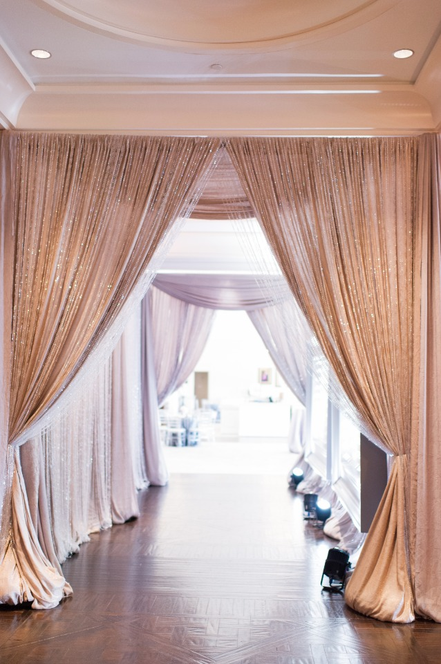 glam beaded curtains line the ceremony entrance
