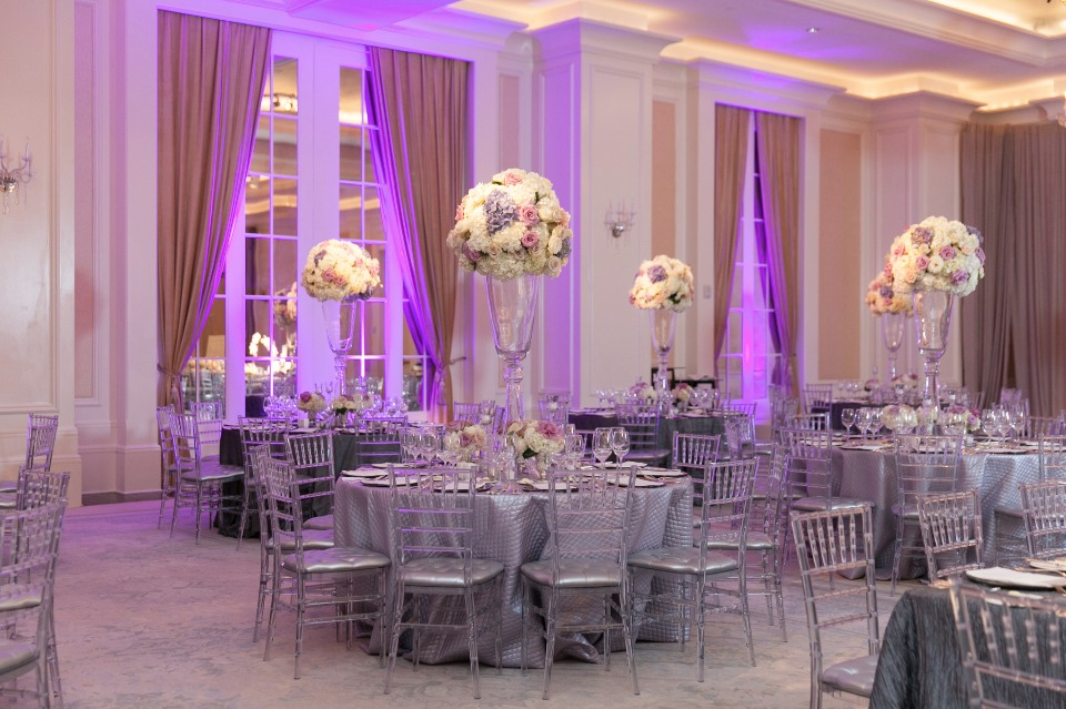 dramatic purple wedding reception lighting