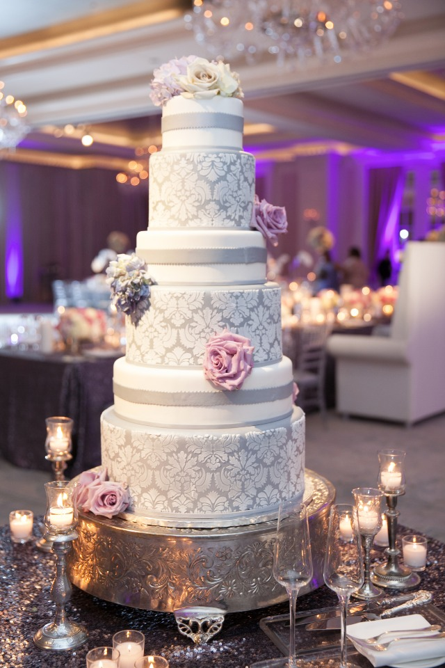 glam silver and white wedding cake