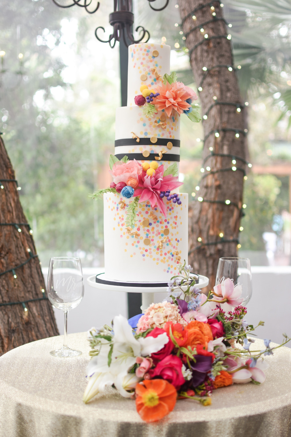 colorful confetti wedding cake