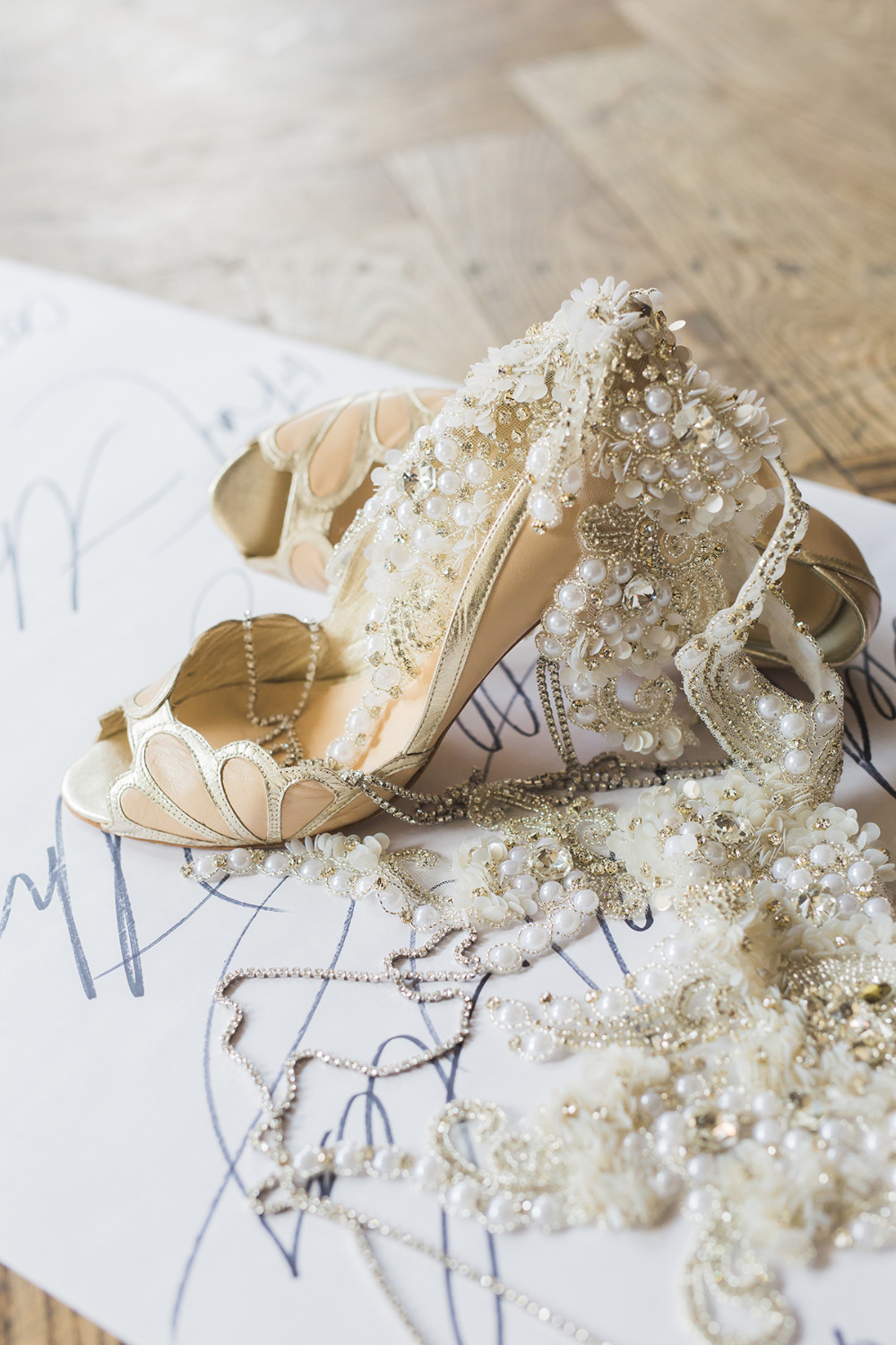 wedding shoes and bejeweled accessories