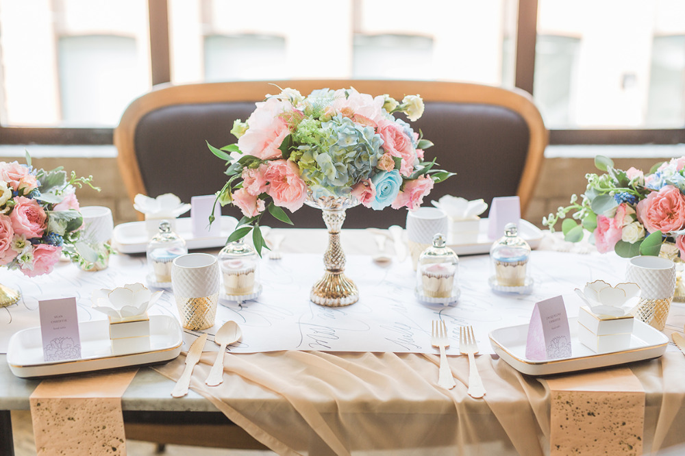 pink and blue wedding reception decor