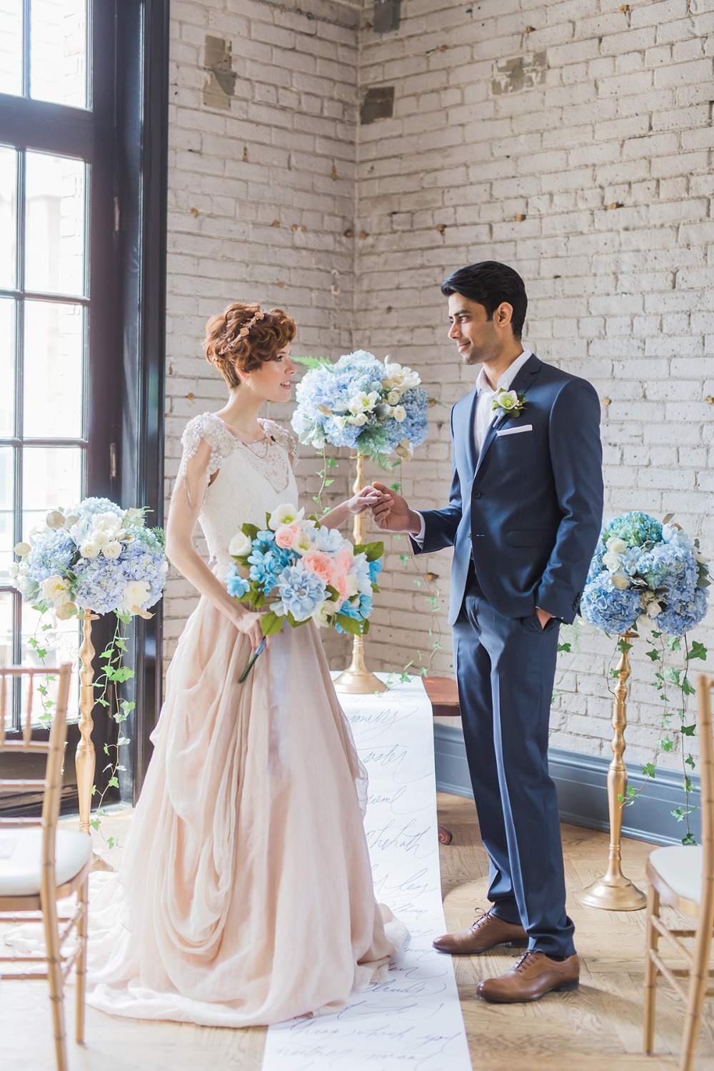 pink and blue and gold wedding ceremony