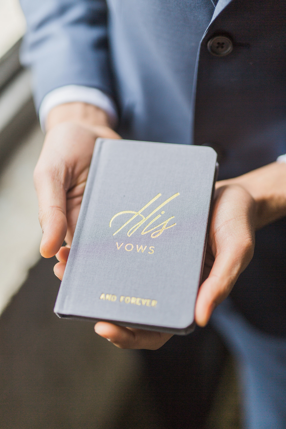 stylish blue grooms vow book