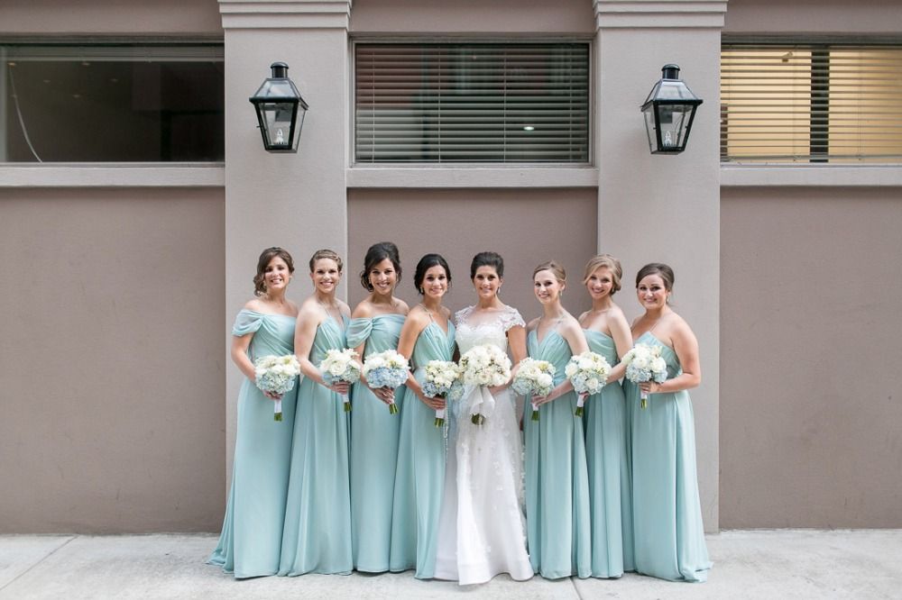 Bridesmaids in blue