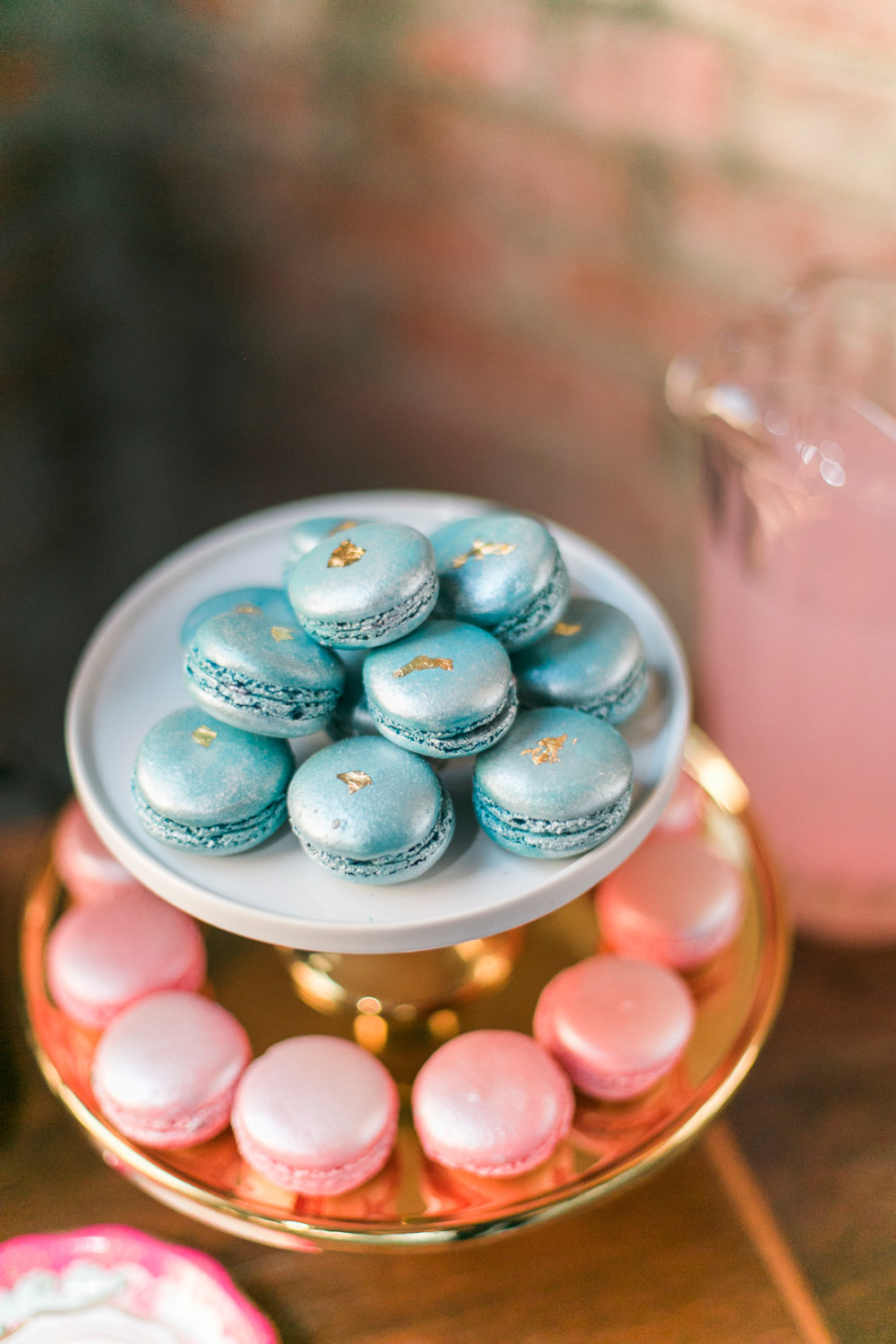 blue and pink shimmer macarons