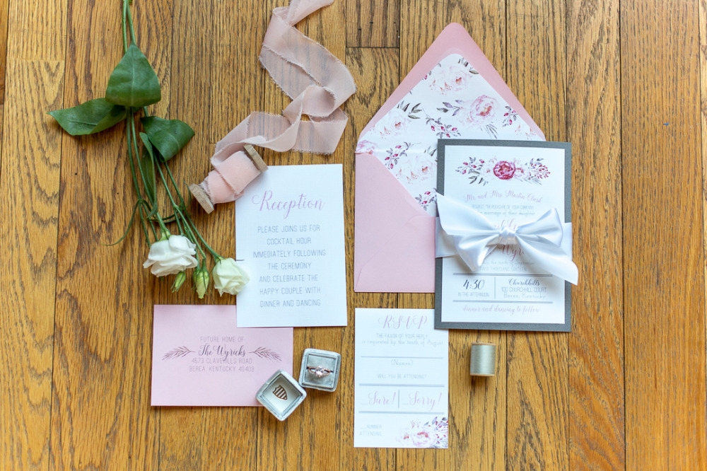 pink and blue floral wedding stationery suite