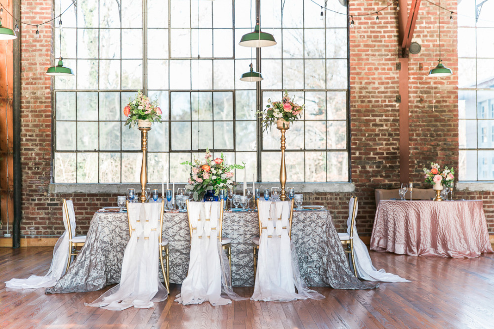 silver and pink reception and sweetheart table