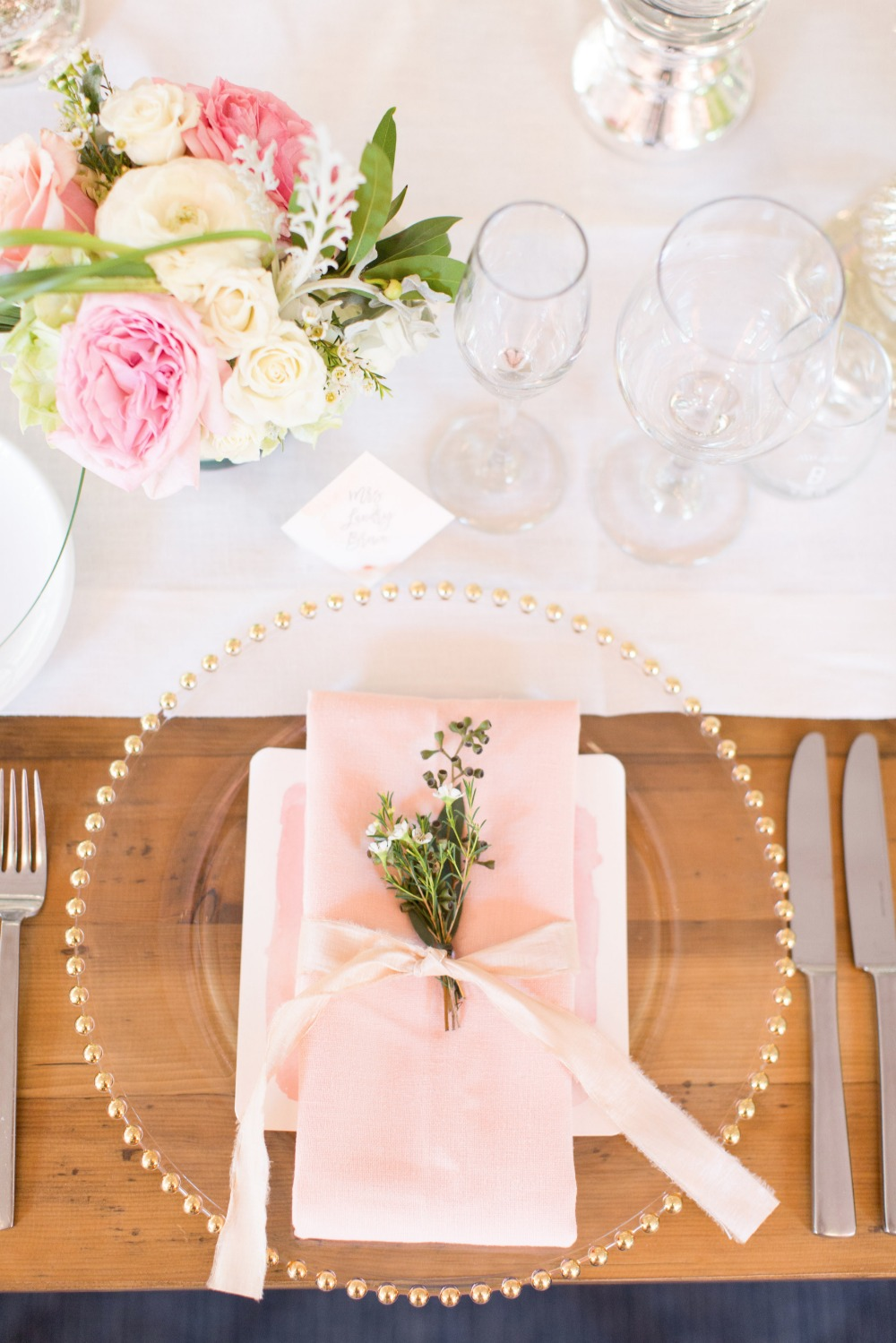Pink napkin place setting
