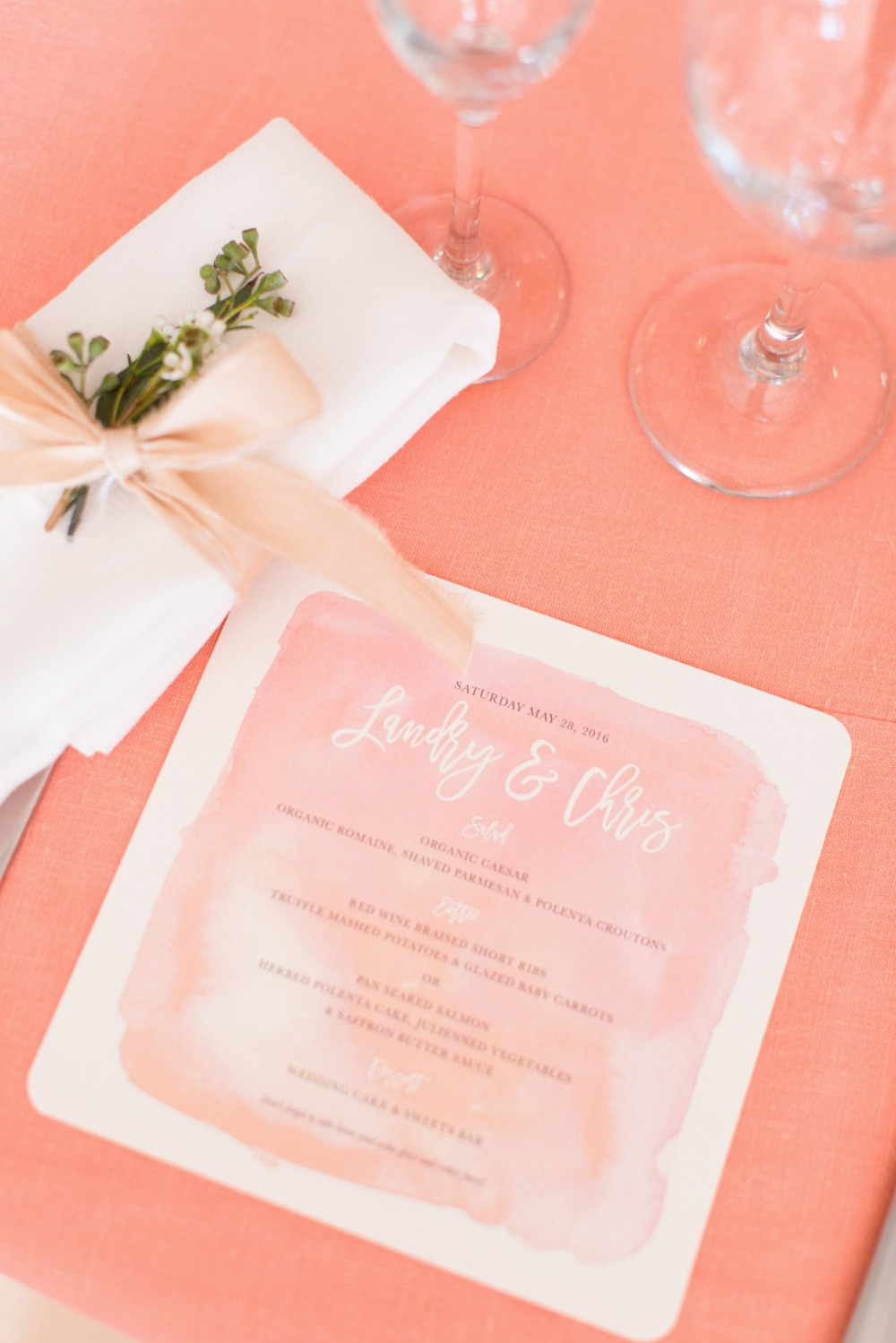 Water color wedding menu