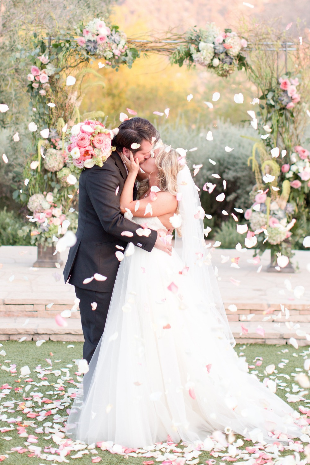 Romantic rose petal toss photo idea