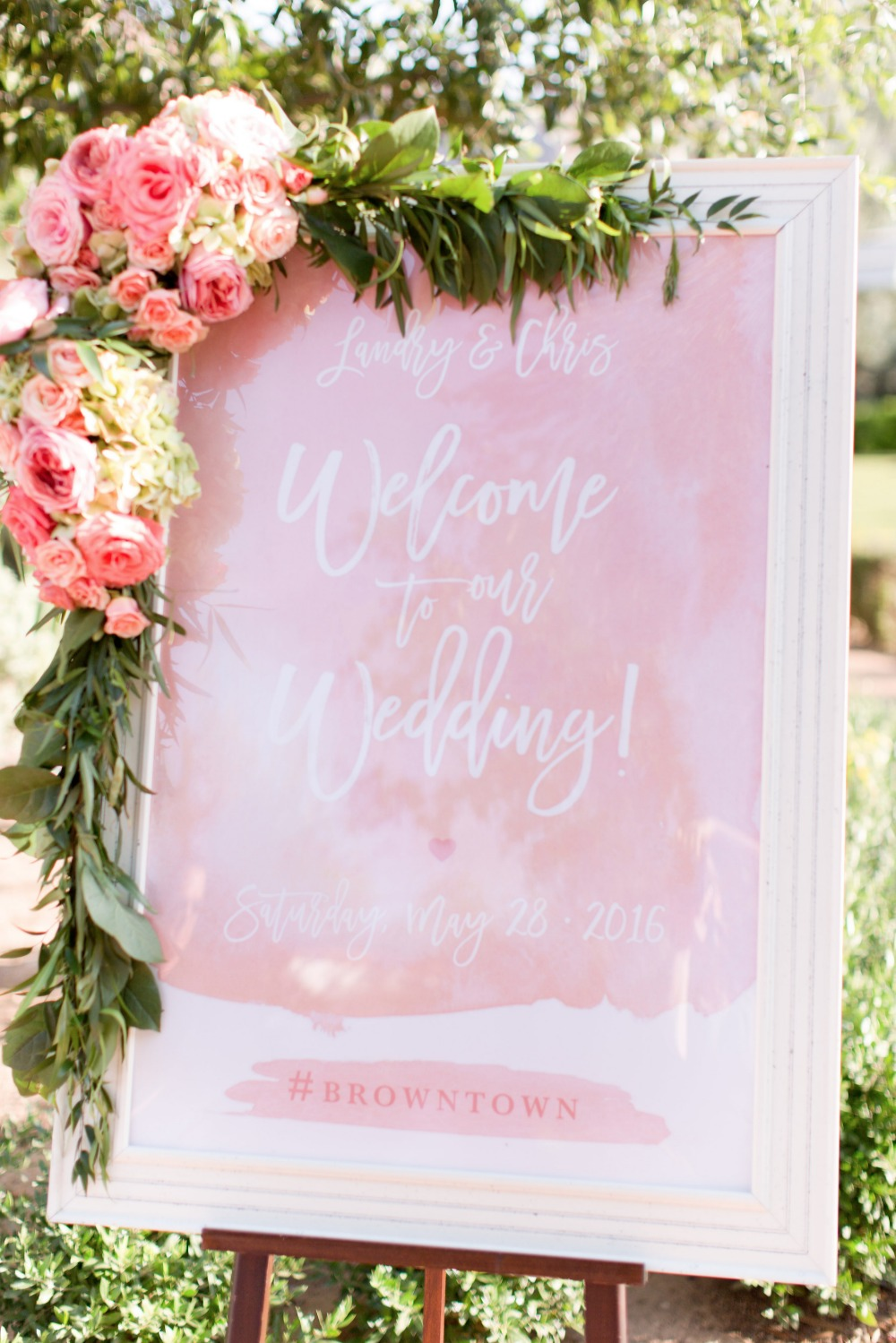 Blush watercolor wedding sign