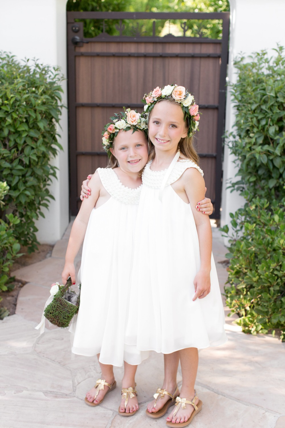 Cute flower girls in white