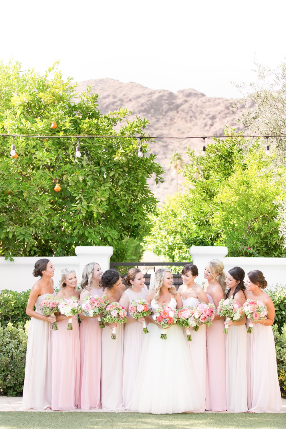 Bridesmaids in shades of blush