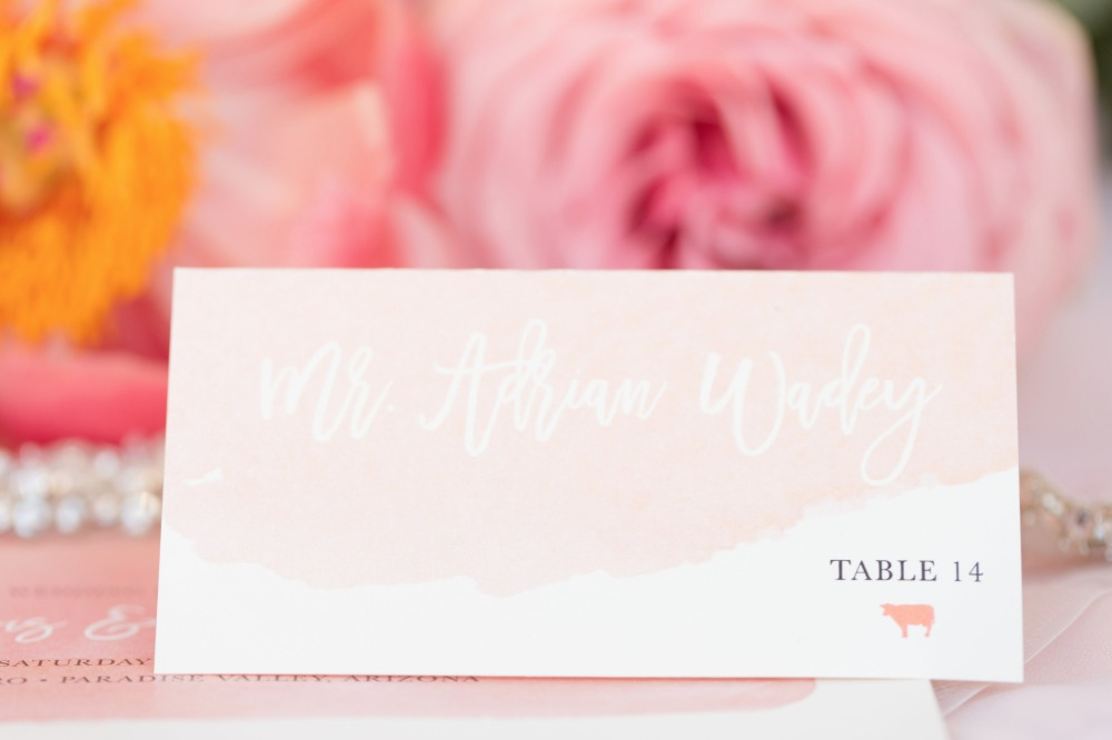 Blush escort card