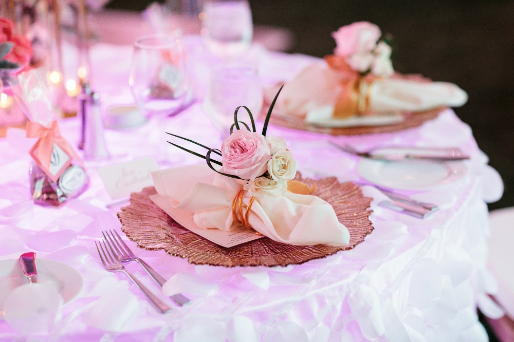 Sweetheart table placesetting