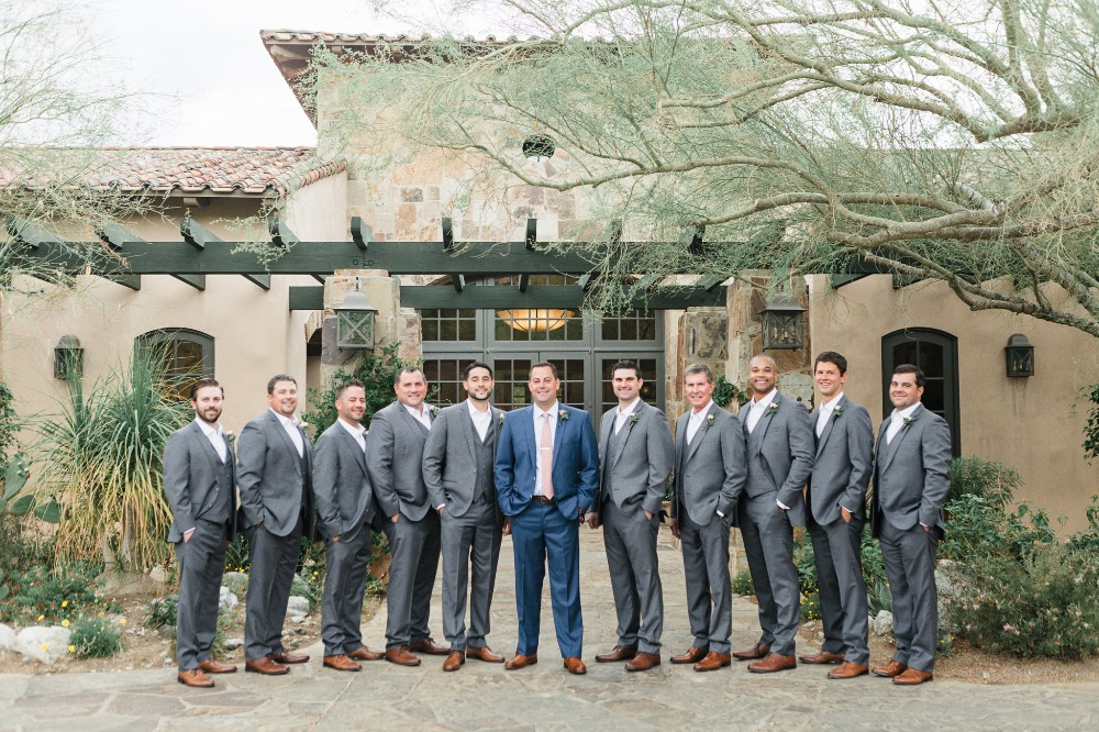 Groomsmen in grey suits