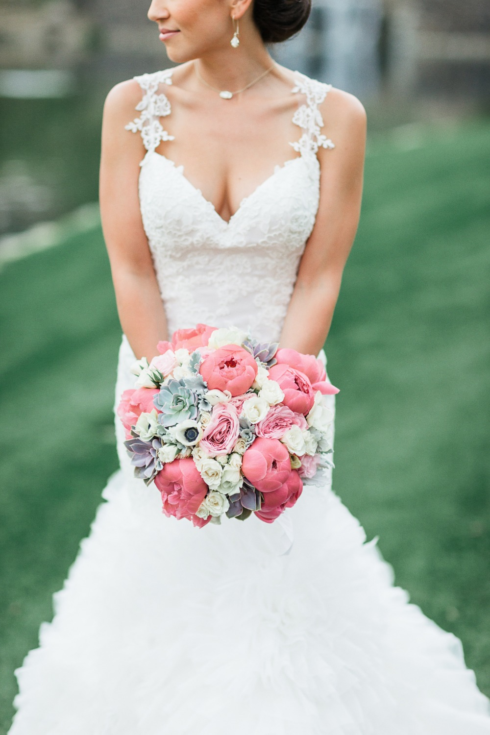 Pink creme and grey wedding bouquet