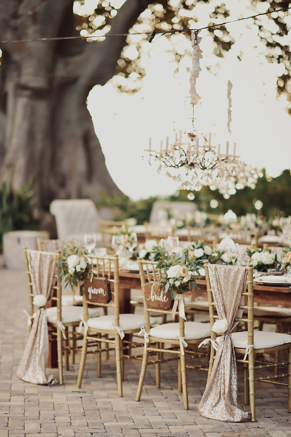 rose gold sequin chair drapes
