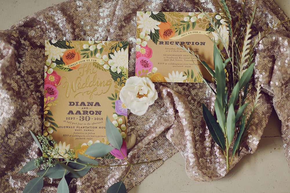 colorful gold floral wedding stationery